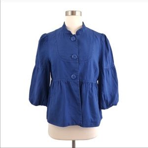 Anthro Elevenses blue linen jacket blazer size 8